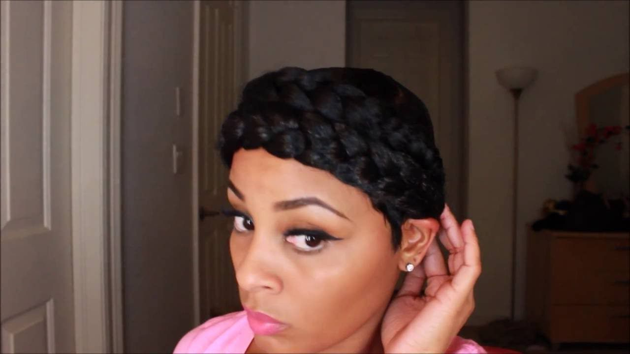 Latest Faux Halo Braided Hairstyles For Short Hair Regarding Easy!! How To Create A Faux Double Halo Braid With Short (View 2 of 20)