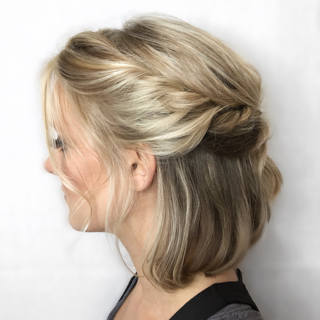 Latest Rolled Half Updo Bob Braid Hairstyles With Trendy Updos For Short Hair: From Casual To Special Occasions (View 13 of 20)