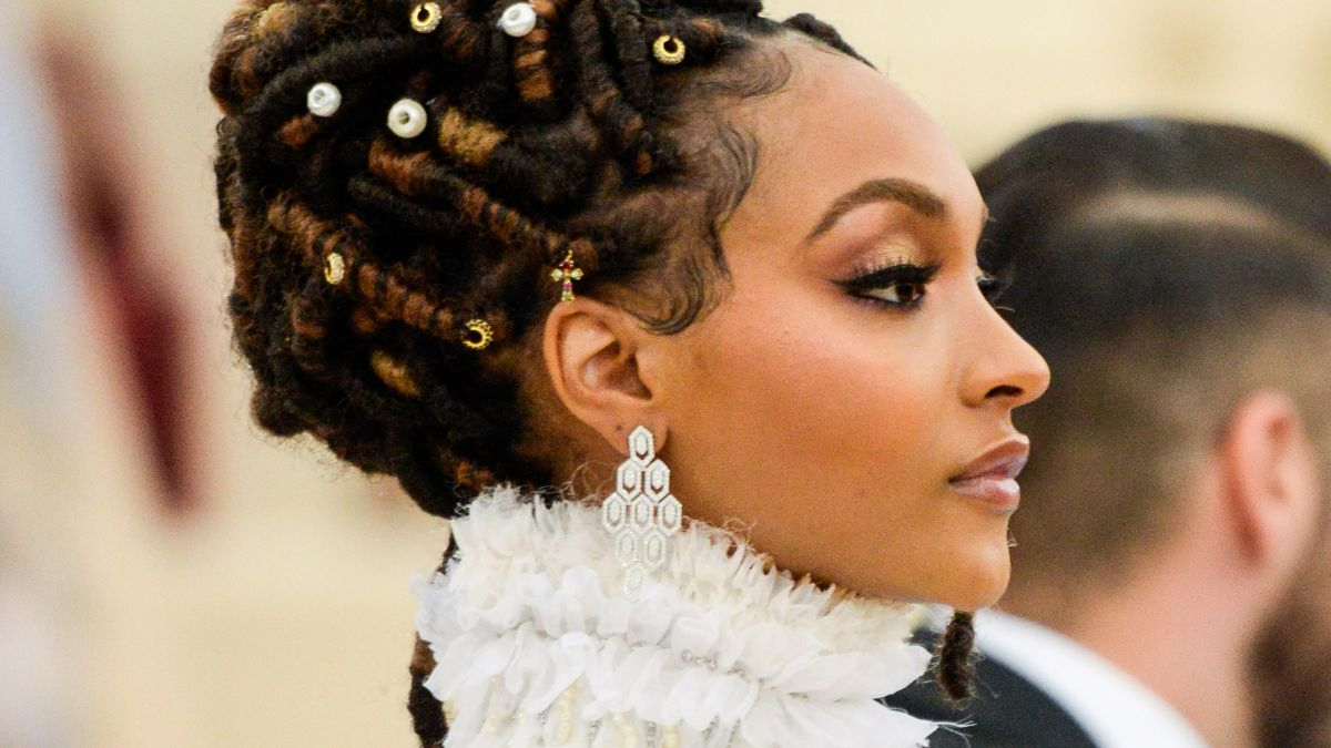 Loc Updos, Braids, And Twists For Wedding Season Intended For Recent Blinged Out Bun Updo Hairstyles (View 14 of 20)