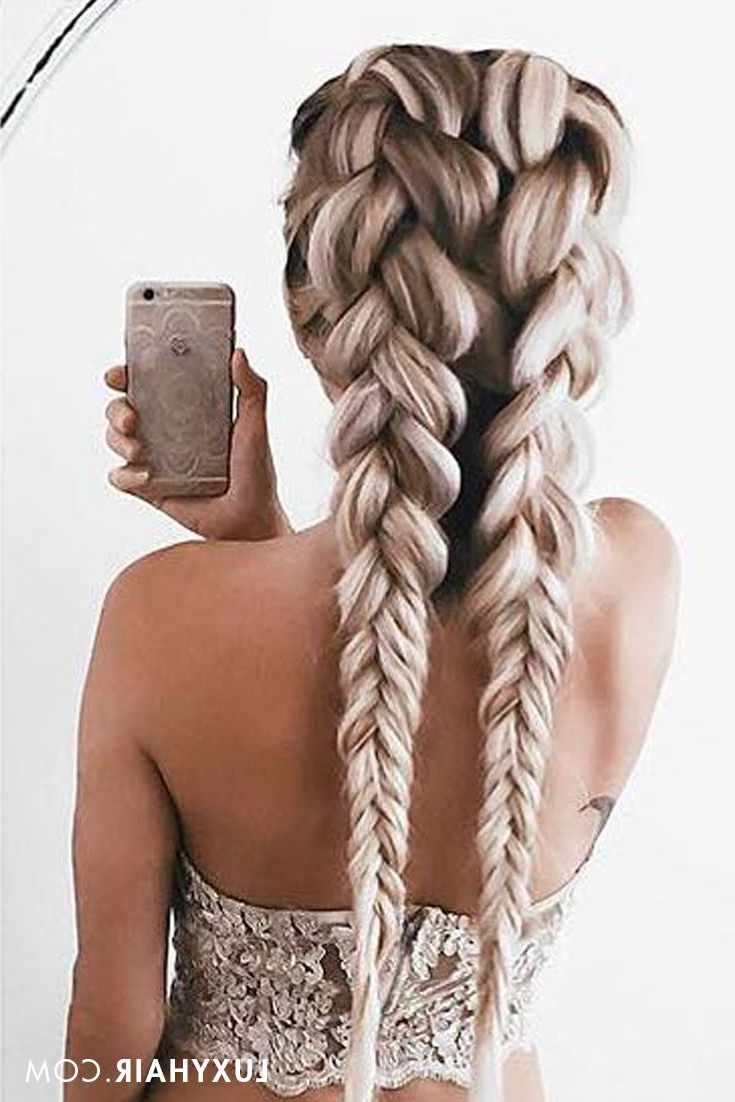 Luxy Hair Extensions Regarding Famous Blonde Asymmetrical Pigtails Braid Hairstyles (Gallery 7 of 20)