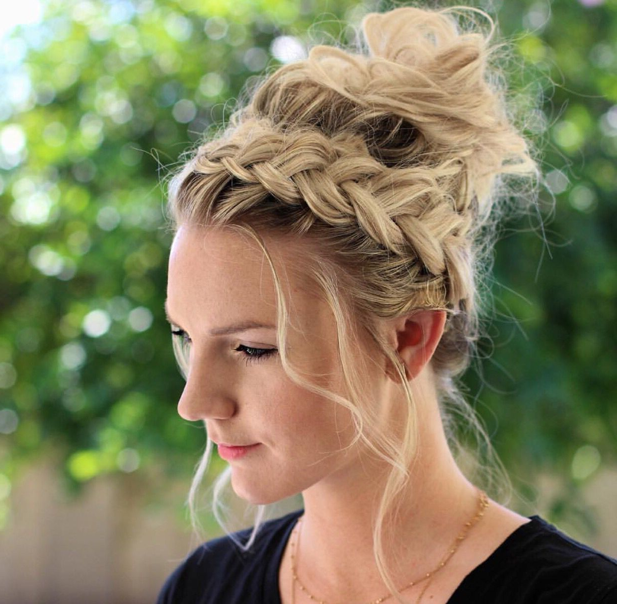 Messy Bun With Well Known Crown Braid Updo Hairstyles (View 19 of 20)