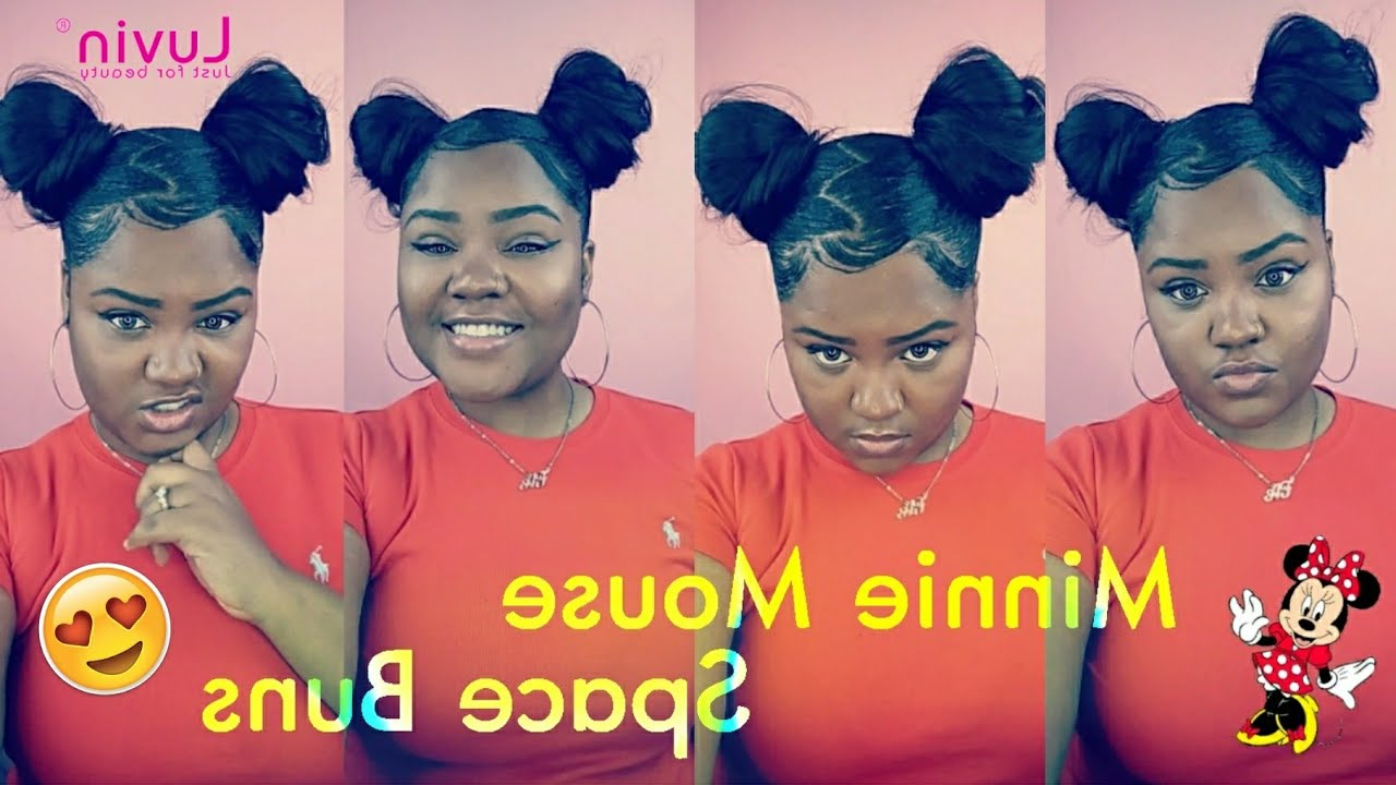 Minnie Mouse Space Buns With Weave Ft (View 12 of 20)