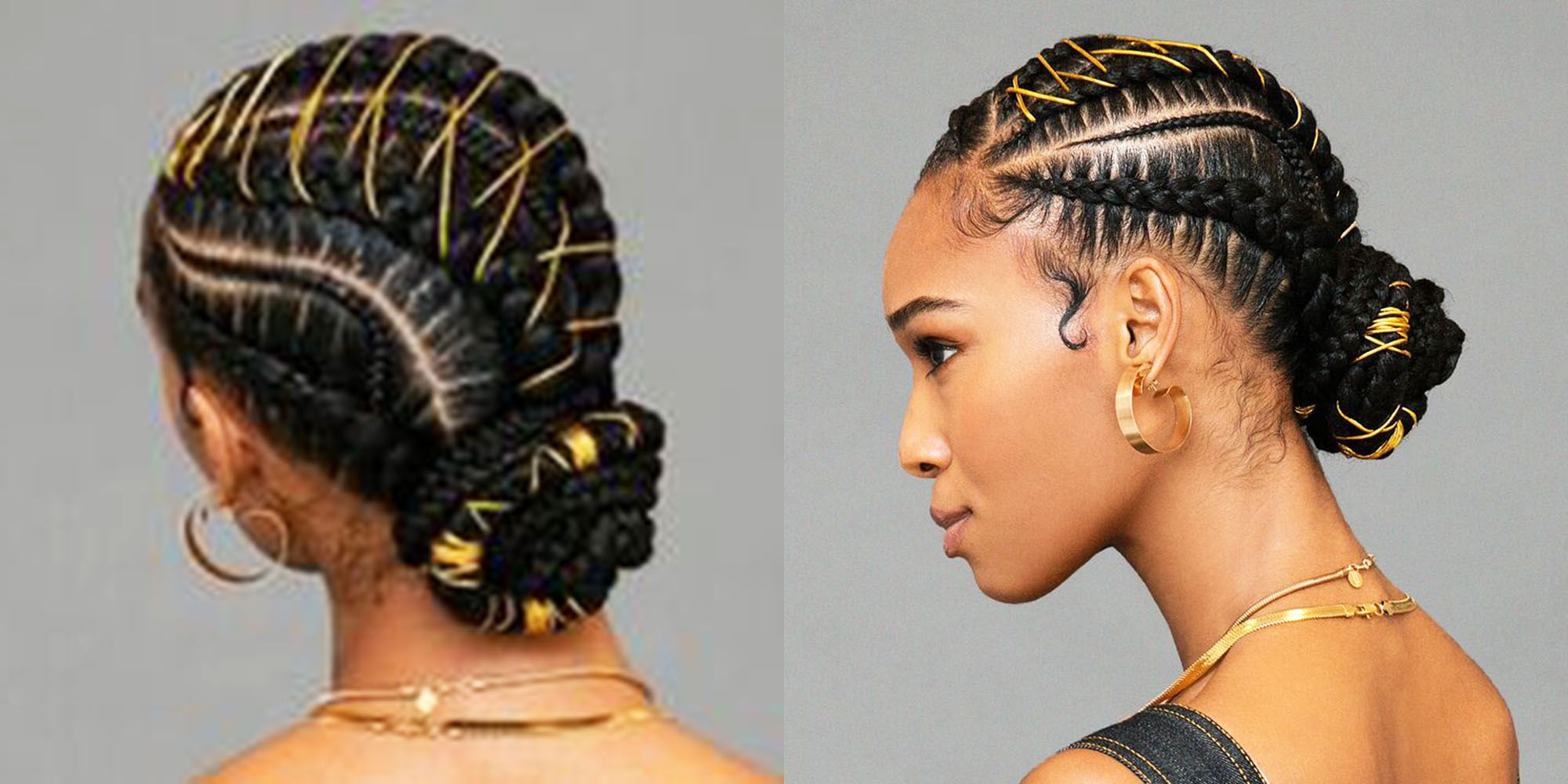 Most Current Angled Cornrows Hairstyles With Braided Parts For Um, This Braided Bun With Gold Stitching Is Definitely The Next Style You Need To Try (View 7 of 20)