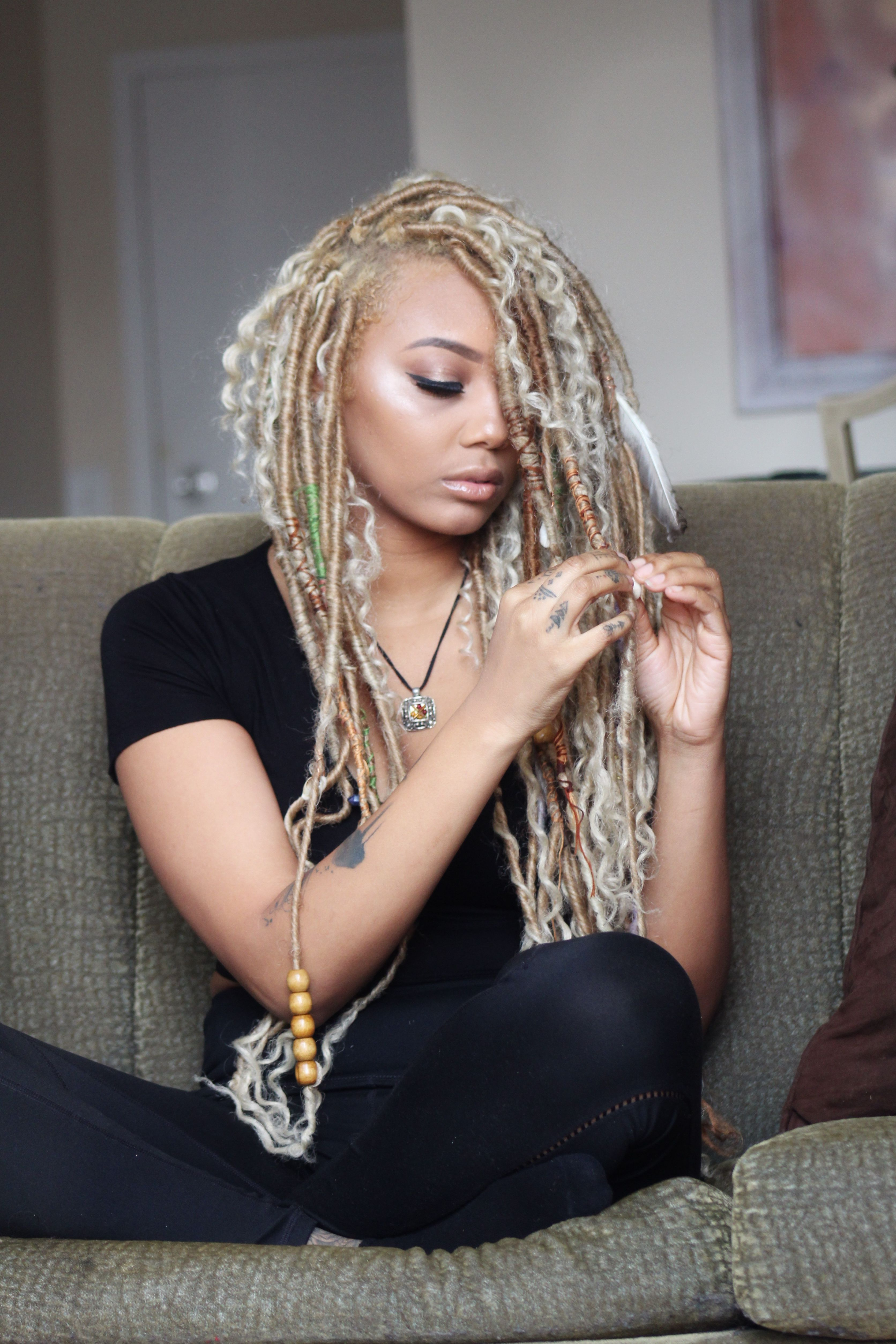 Most Current Blonde Faux Locs Hairstyles With Braided Crown Throughout Gypsy Locs (View 14 of 20)