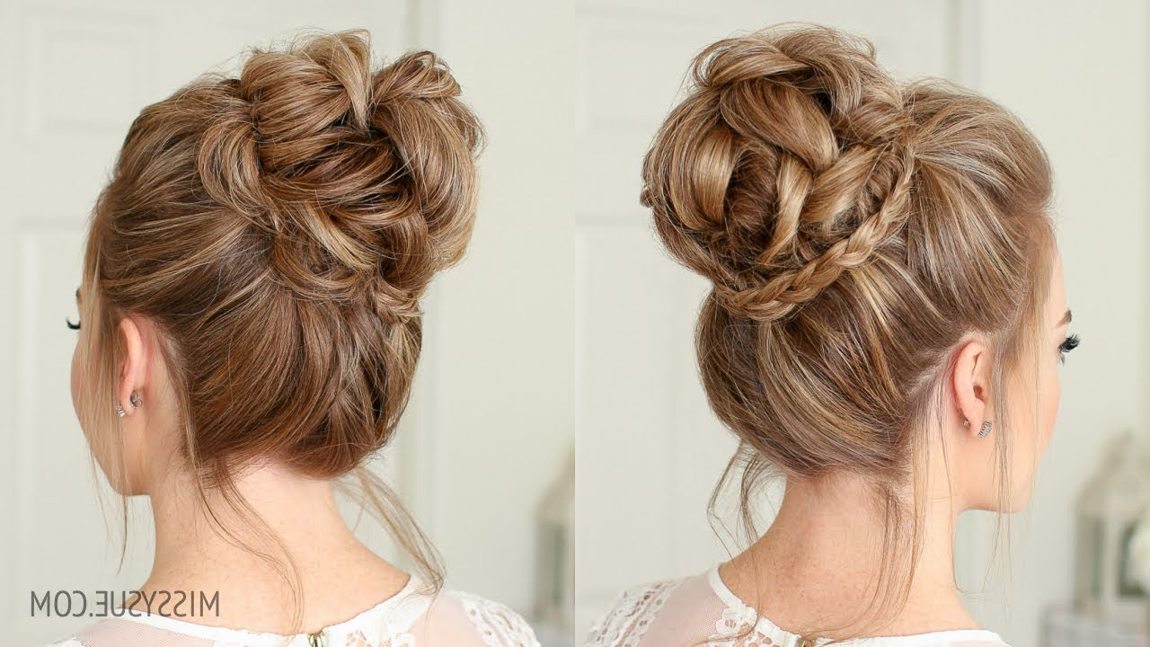 Most Current Braid Wrapped High Bun Hairstyles Throughout Mini Braid Wrapped High Bun (View 15 of 20)