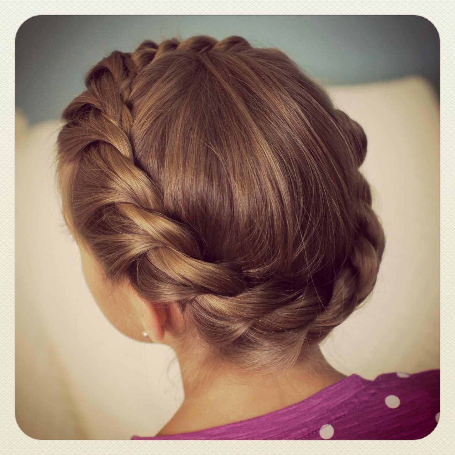 Most Current Crown Braid Updo Hairstyles Regarding Crown Rope Twist Braid (View 11 of 20)