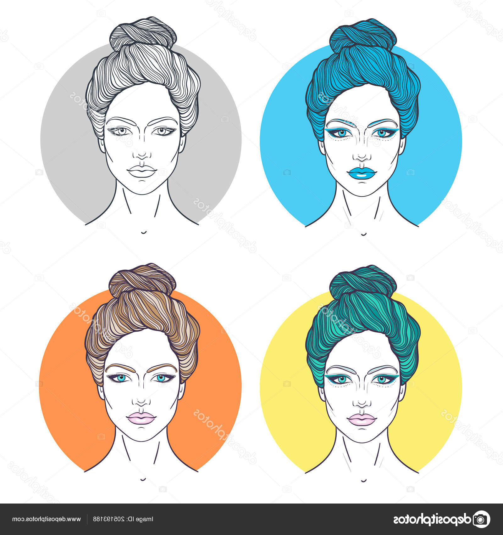 Most Current Decorative Topknot Hairstyles Inside Beautiful Girls Faces Top Knot Hair Style Make Neutral (View 7 of 20)