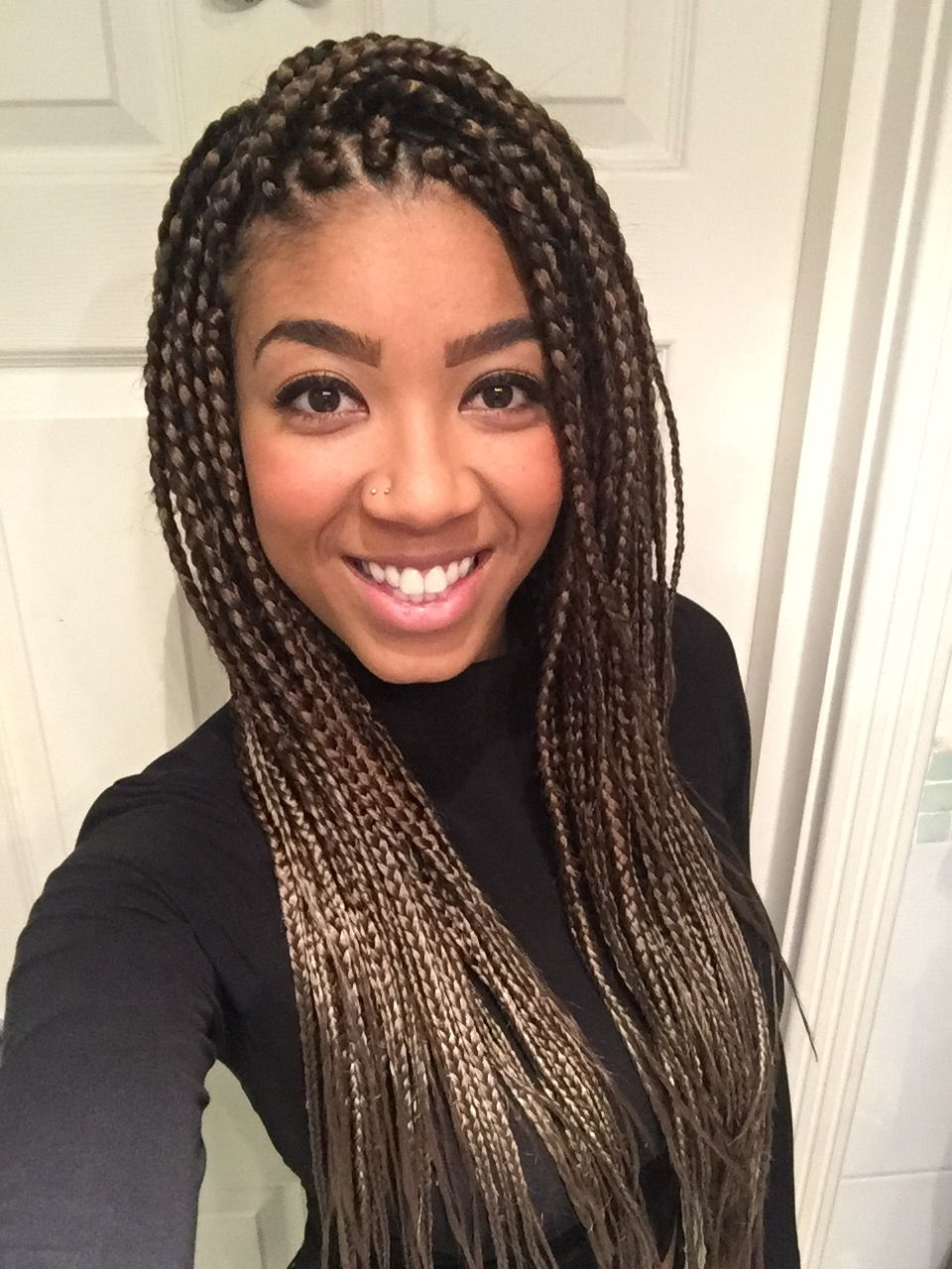 Most Current Light Brown Braid Hairstyles Regarding Box Braids! Medium Long, Two Tone Light Brown/golden (View 12 of 20)