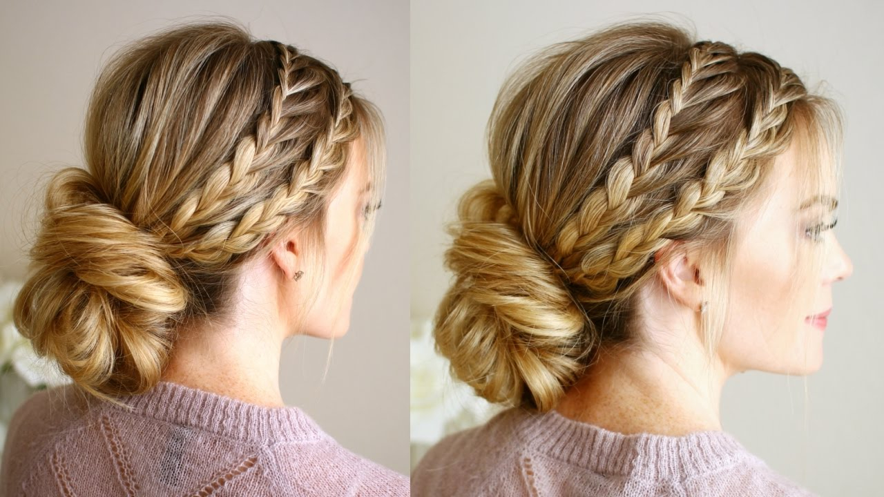 Most Current Triple Under Braid Hairstyles With A Bun Pertaining To Triple Braided Updo (View 9 of 20)