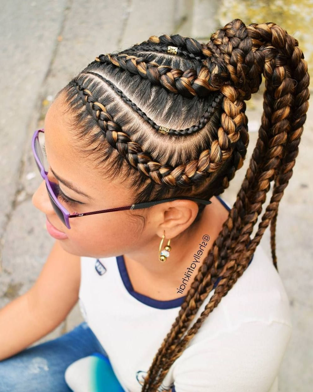 Most Popular Braided And Wrapped Hairstyles Throughout Brown And Caramel Goddess Braids In Wrapped Ponytail (View 16 of 20)