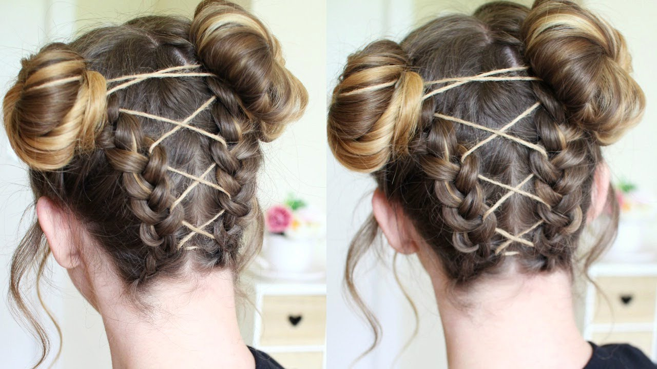 Most Popular Braided Space Buns Updo Hairstyles Within Upside Down Corset Braided Space Buns (View 8 of 20)