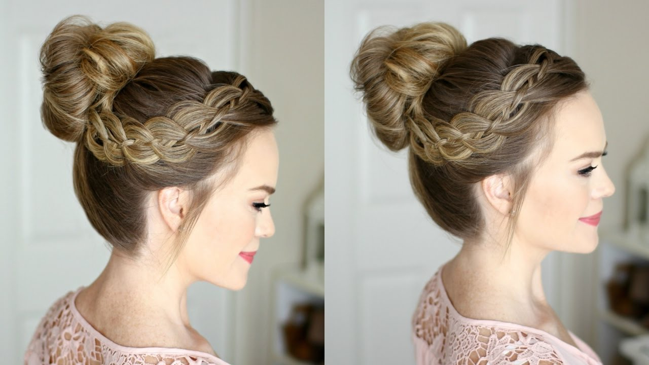 Most Popular High Bun Hairstyles With Braid Pertaining To Four 4 Strand Braid High Bun (View 17 of 20)