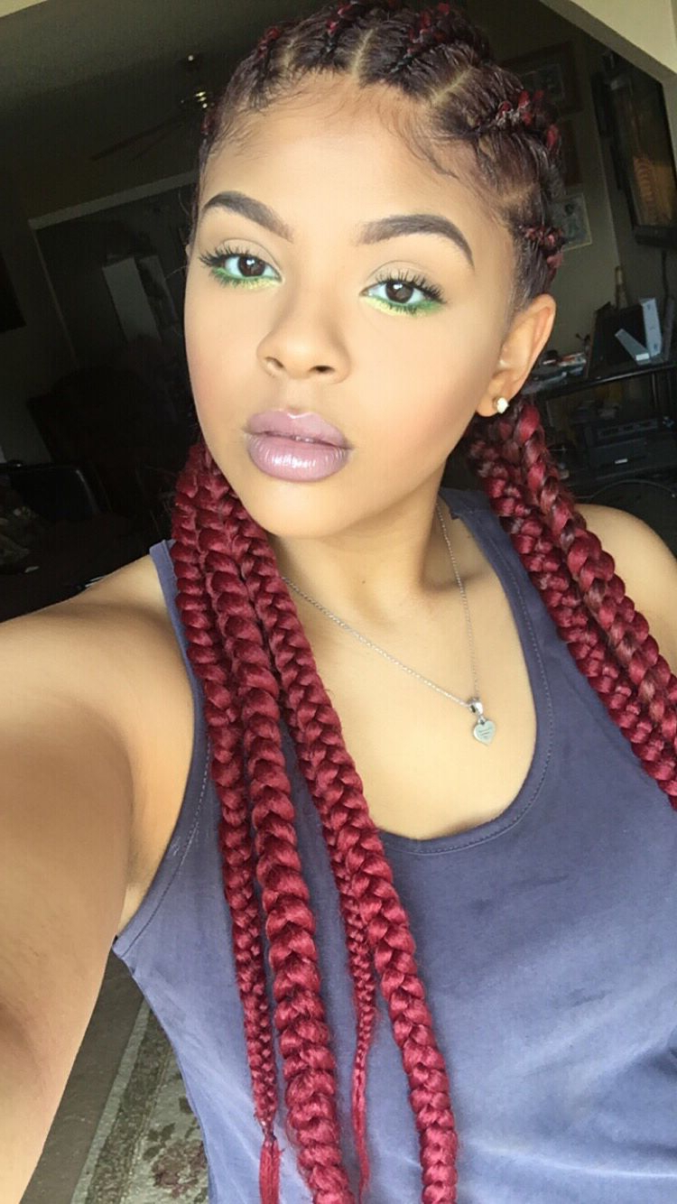 Most Popular Red And Yellow Highlights In Braid Hairstyles Intended For Red Cornrows (View 15 of 20)