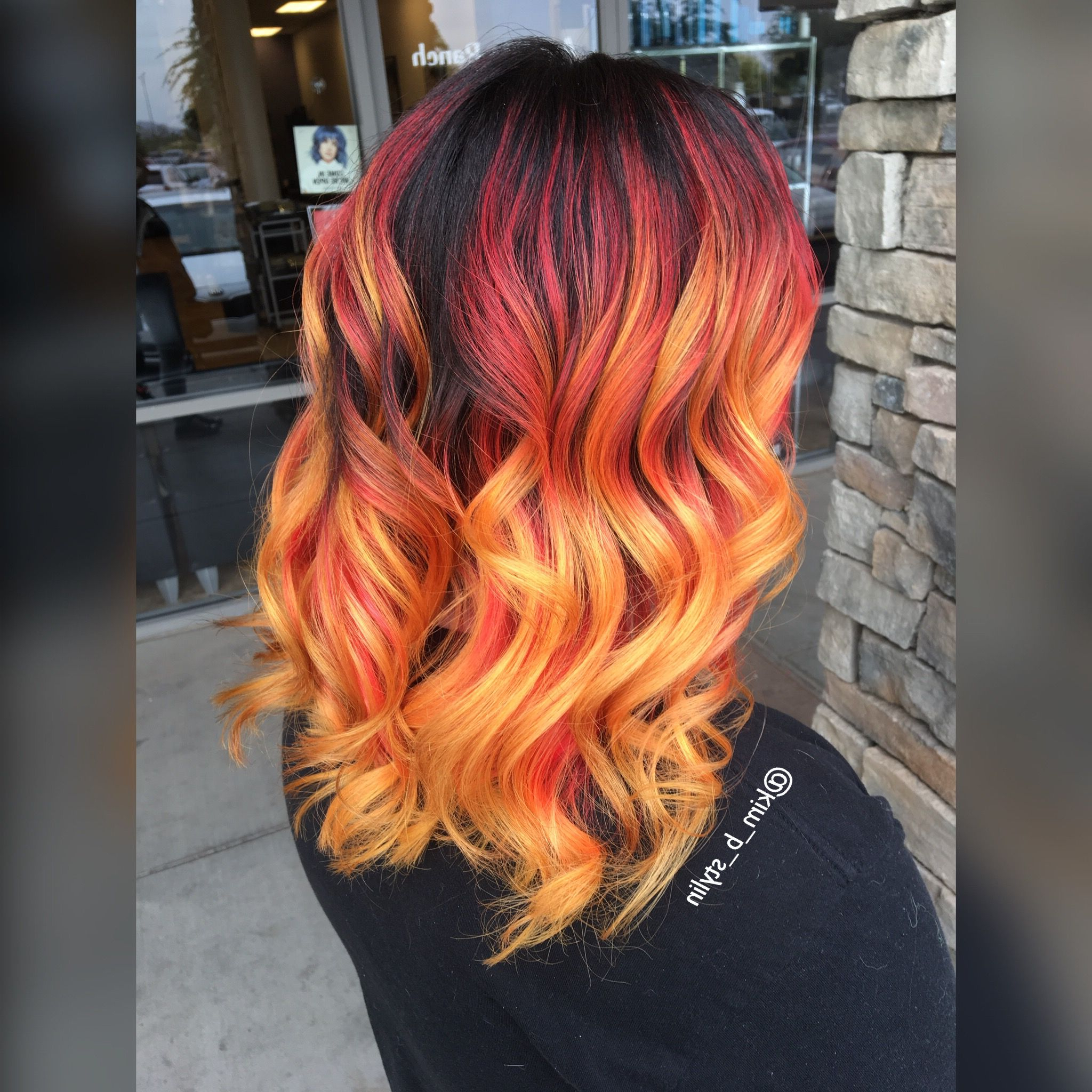 Most Popular Red, Orange And Yellow Half Updo Hairstyles Intended For Fire Balayage Ombré With Red Yellow And Orange Melted (View 2 of 20)