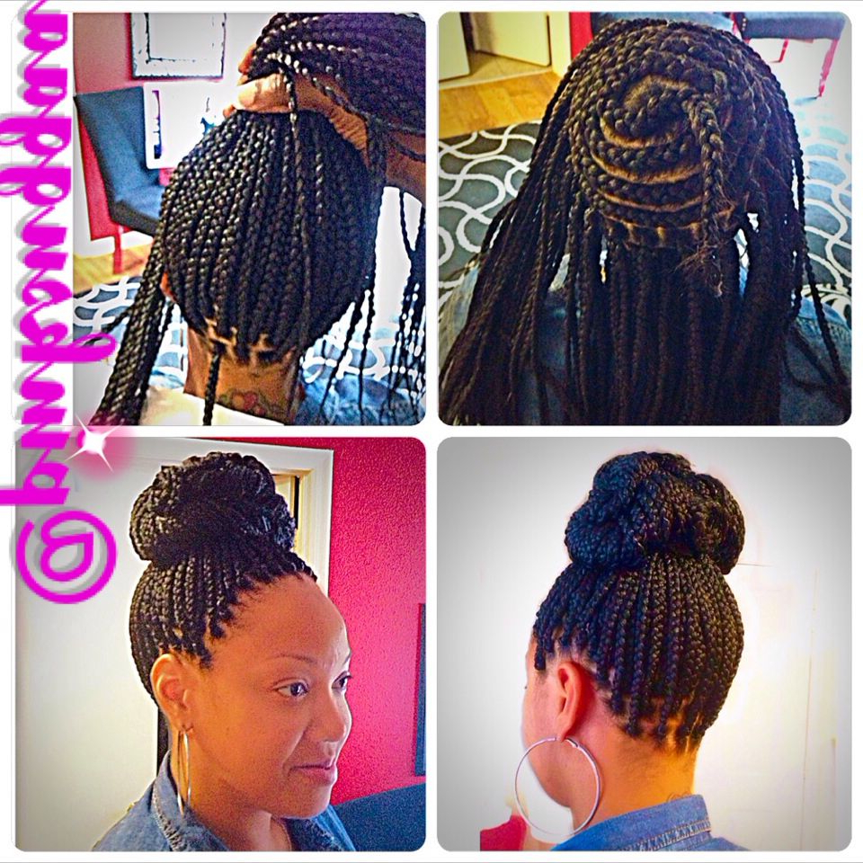 Most Recent Box Braided Bun Hairstyles Intended For Braids / Perimeter Braided Bun / Box Braids (View 3 of 20)