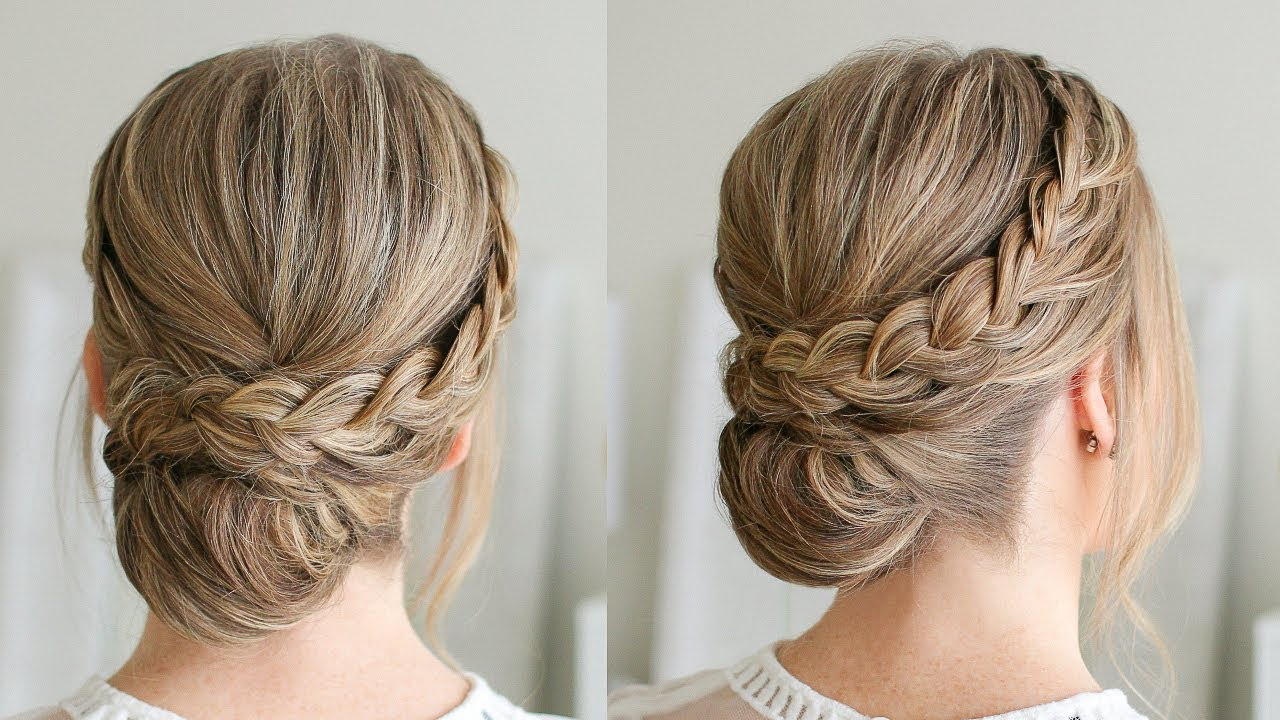 Most Recent Braided And Wrapped Hairstyles Inside Double Braid Wrapped Roll Bun (View 11 of 20)