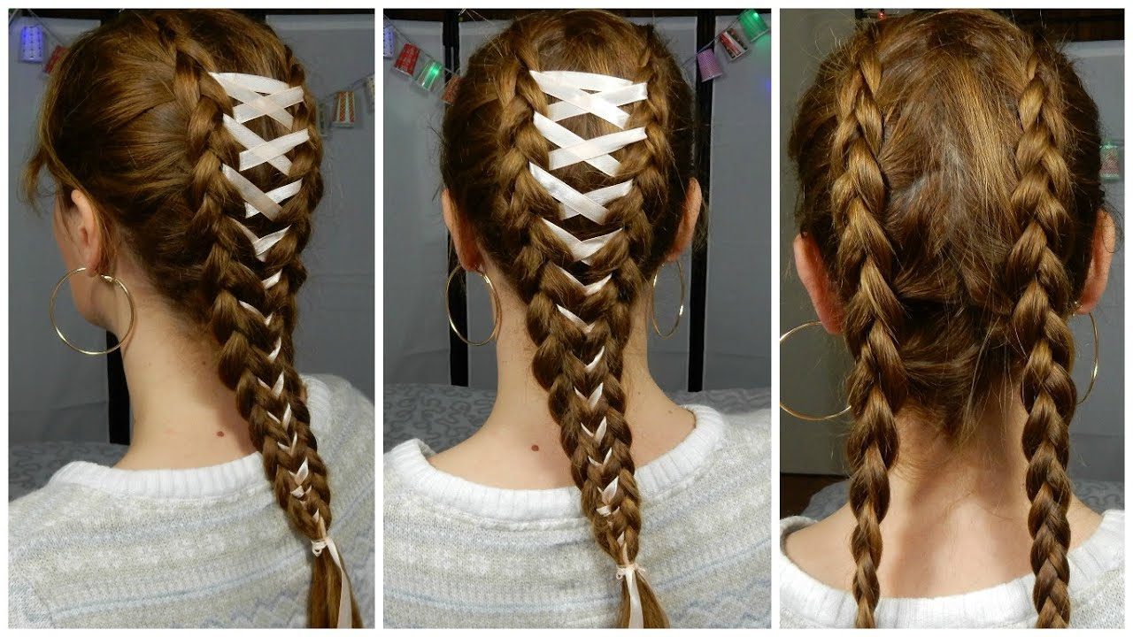 Most Recent Corset Braided Hairstyles Intended For Ribbon Braid – Tresse Corset Avec Ruban / Corset Braid Hair (View 2 of 20)