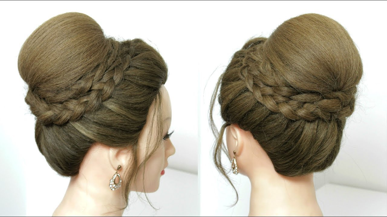 Most Recent High Bun Hairstyles With Braid For Beautiful High Bun Hairstyle With Dutch Braids For Wedding (View 12 of 20)