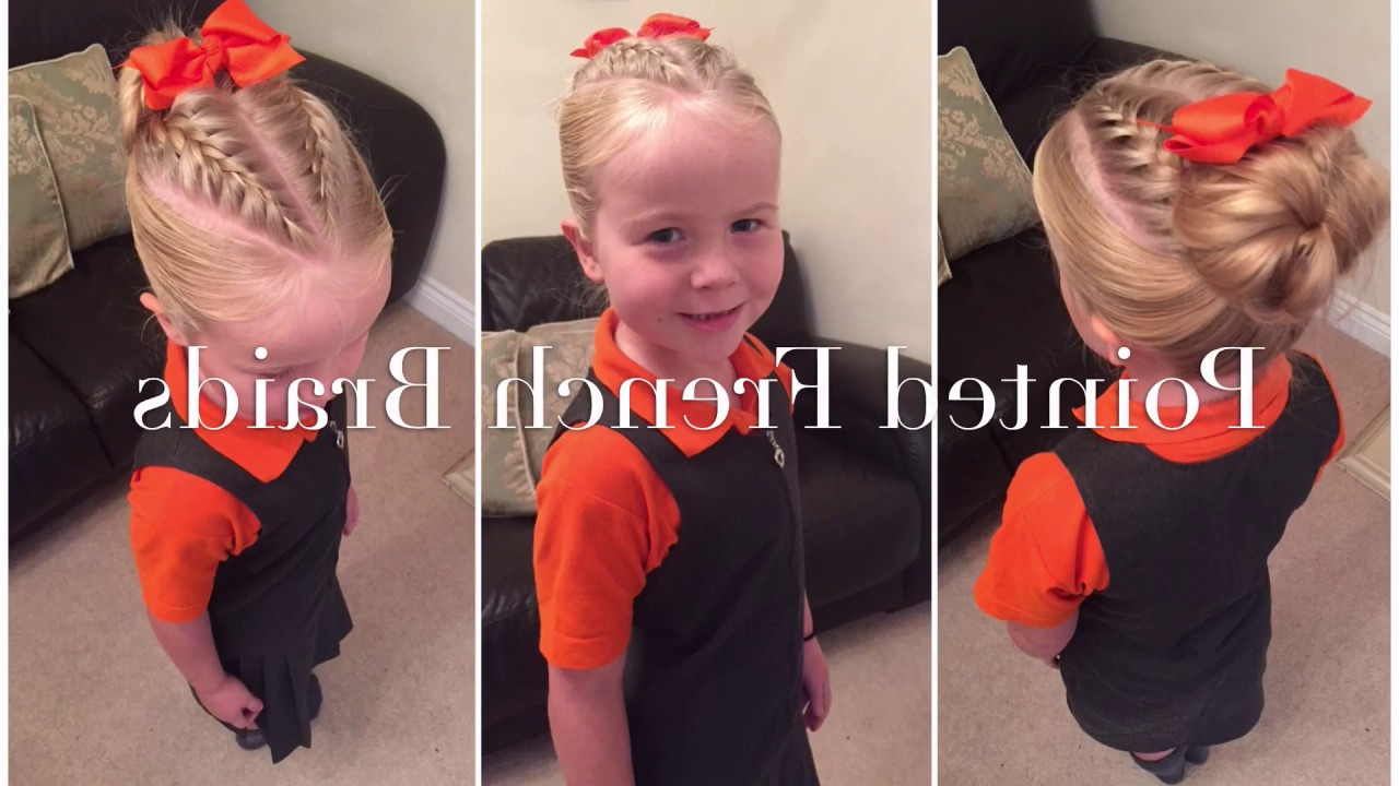 Most Recent Messy Bun Hairstyles With Double Headband Within Pointed Double French Braids With Messy Bun Hair Tutorialtwo Little Girls Hairstyles (View 5 of 20)