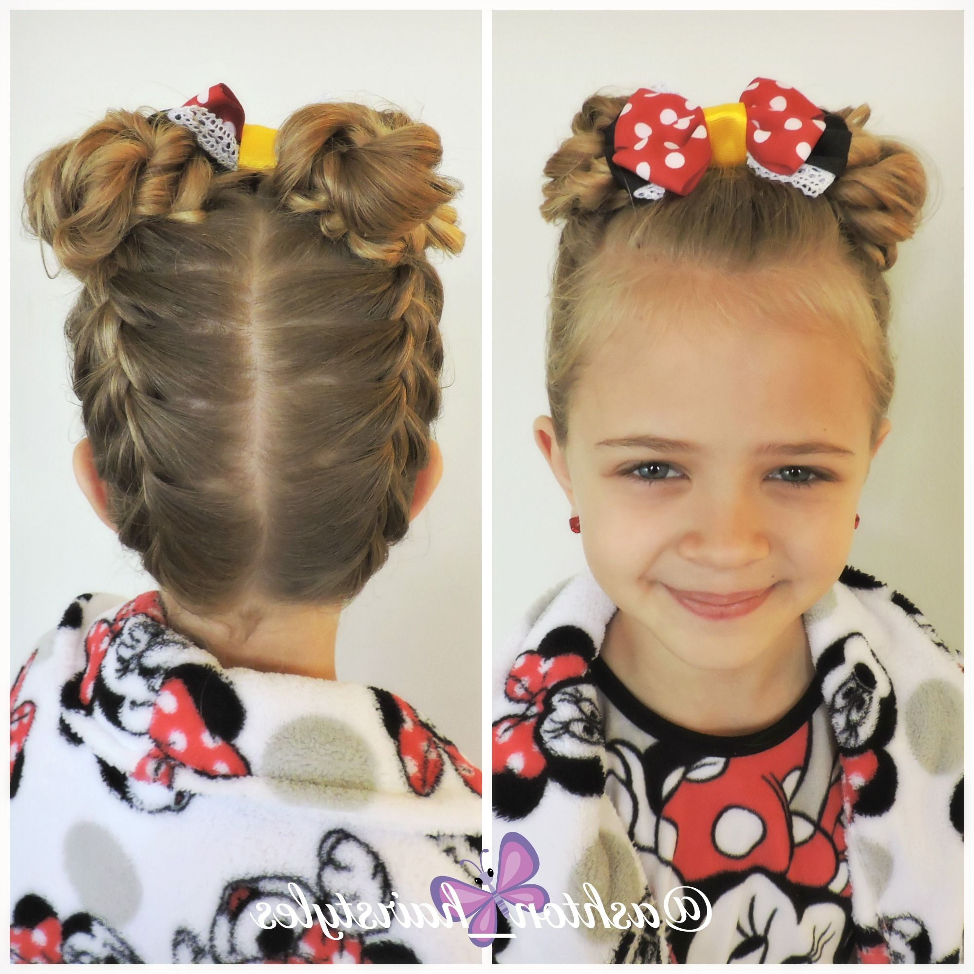 Most Recent Minnie Mouse Buns Braid Hairstyles In Pajama Day At School Means Minnie Mouse (View 7 of 20)