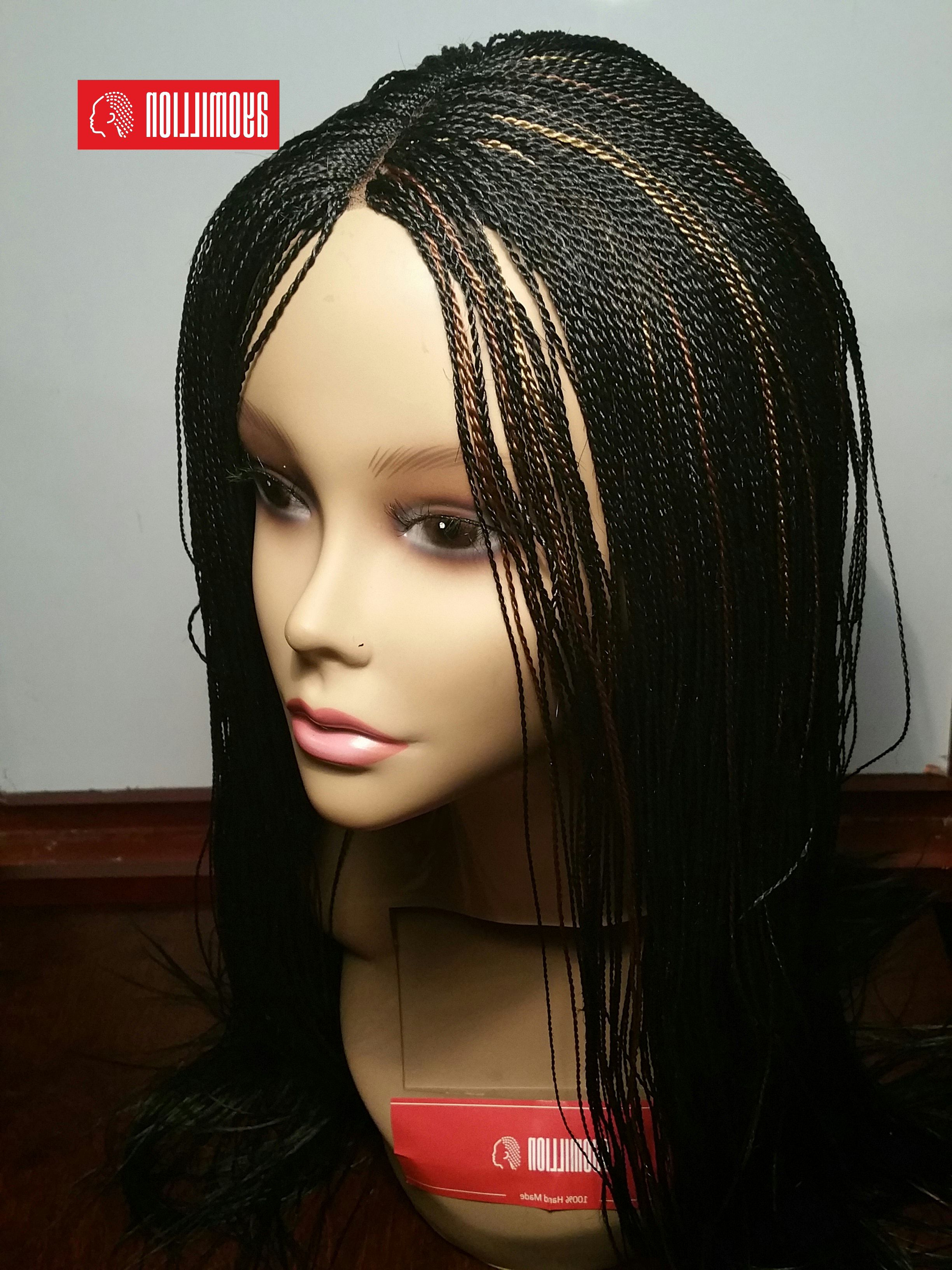 Most Recently Released Black Twists Micro Braids With Golden Highlights Throughout Pin On Handmade Lace Front Braids Wigs (View 3 of 20)