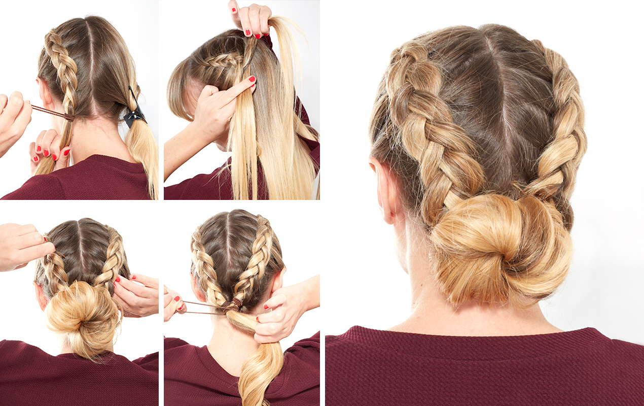 Most Recently Released French Braid Buns Updo Hairstyles With How To Do A Double Dutch Braided Bun (View 14 of 20)