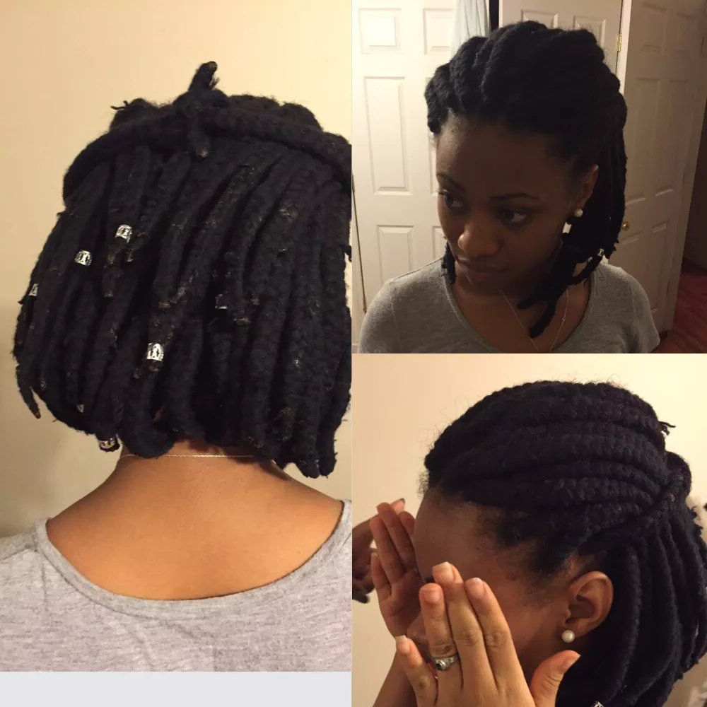 Most Recently Released Long Bob Braid Hairstyles With Thick Braids For Yarn Braids In A Bob (View 16 of 20)