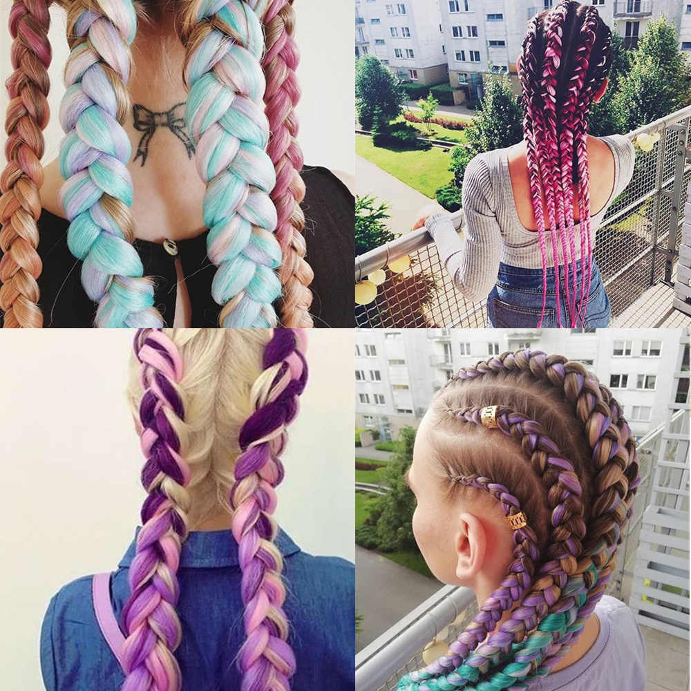 Most Recently Released Pink Rope Braided Hairstyles With 1Pack Long Ombre Kanekalon Jumbo Synthetic Braiding Hair Full Star Crochet Blonde Pink Blue Grey Hair Extensions Jumbo Braids (View 15 of 20)