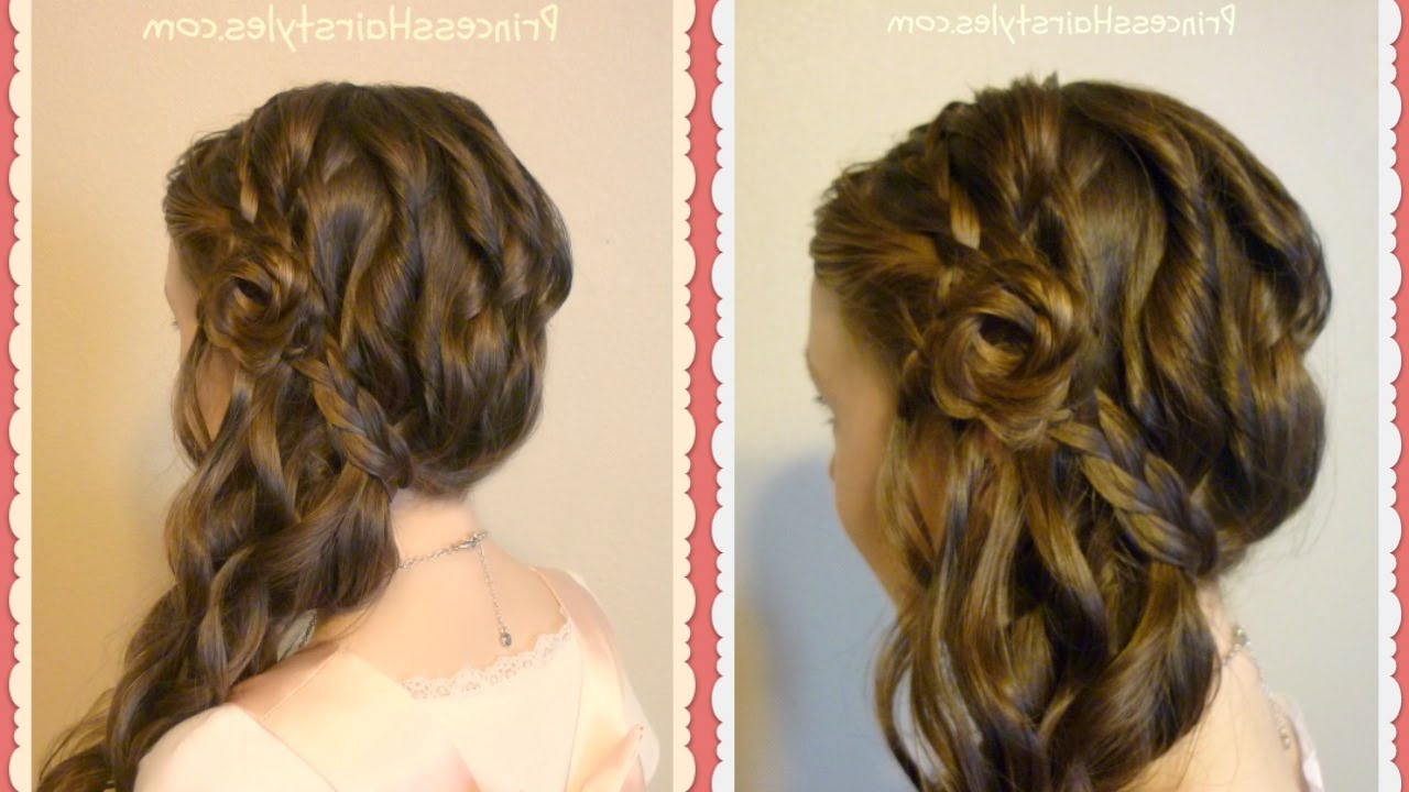 Most Recently Released Side Swept Braid Hairstyles Regarding Romantic Side Swept Braided Rose Hairstyle (View 17 of 20)