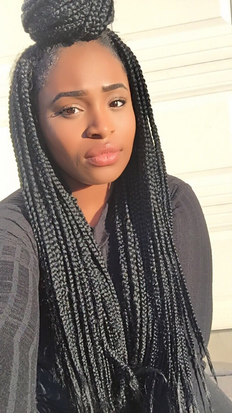 Most Recently Released Skinny Yarn Braid Hairstyles In A Half Updo Intended For Half Bun Half Down #boxbraids @italévision @ Simplyredeemed  (View 10 of 20)