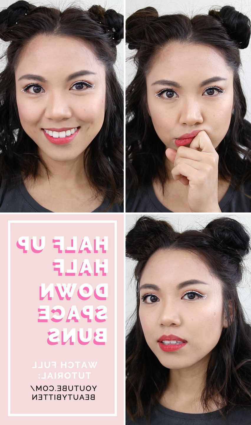 Most Up To Date Double Mini Buns Updo Hairstyles With Hair How To: Heatless Half Up Half Down Space Buns Tutorial (View 18 of 20)
