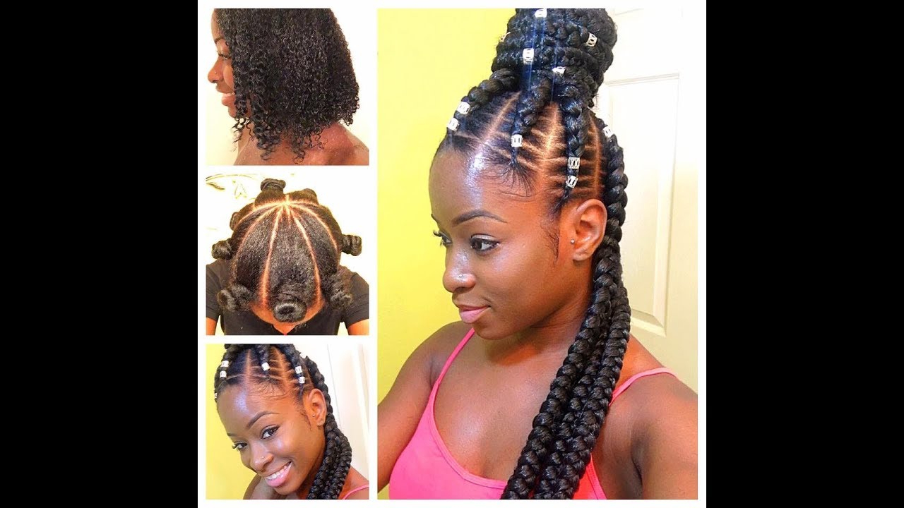 Most Up To Date Half Up Box Bob Braid Hairstyles Pertaining To Half Up / Half Down Goddess Feed In Braids – Beginner Friendly (View 17 of 20)