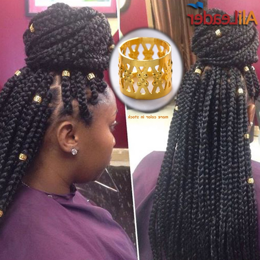 Most Up To Date Kanekalon Braids With Golden Beads Pertaining To 100Pcs Mixed Silver Golden Pink Red Blue Plated Braid Hair (View 8 of 20)