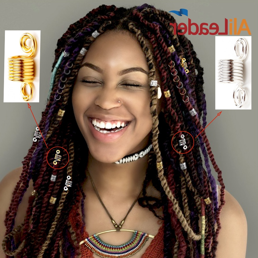 [%most Up To Date Long Braid Hairstyles With Golden Beads Inside Us $1.15 15% Off|20pcs Dread Lock Dreadlocks Braiding Beads Silver Golden Metal Cuffs Hair Clips Accessories Decoration Filigree Tube Silve In Links,|us $ (View 17 of 20)