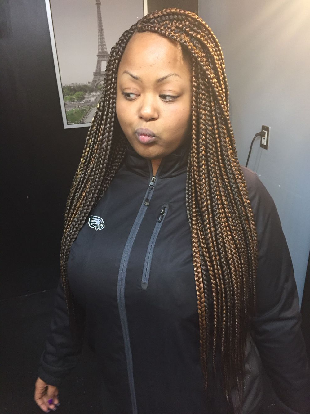 Most Up To Date Metallic Side Cornrows Braided Hairstyles Intended For Waist Length Box Braids. I Love These Braids (View 15 of 20)