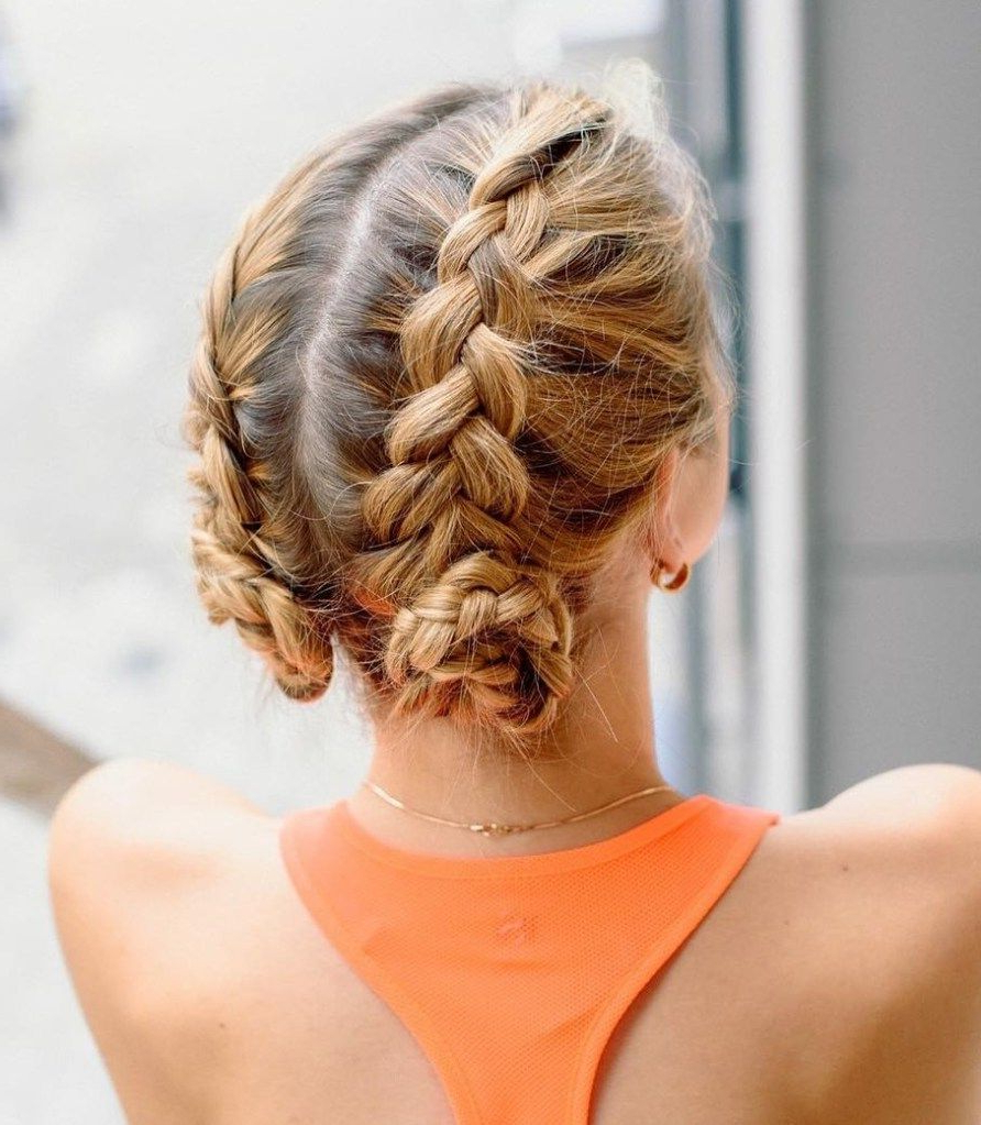 Most Up To Date Mini Braided Buns Updo Hairstyles Within Get Busy: 40 Sporty Hairstyles For Workout (View 3 of 20)