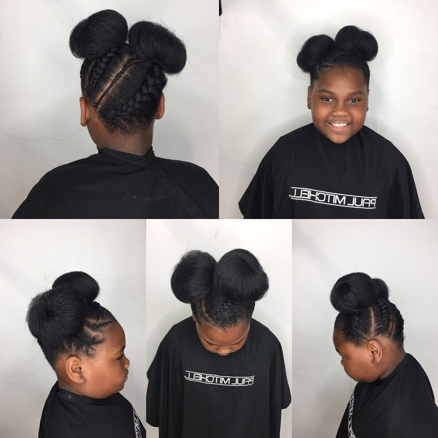 Most Up To Date Minnie Mouse Buns Braid Hairstyles Throughout Kids Styles: Braids And Buns – Crown A Crown (View 13 of 20)