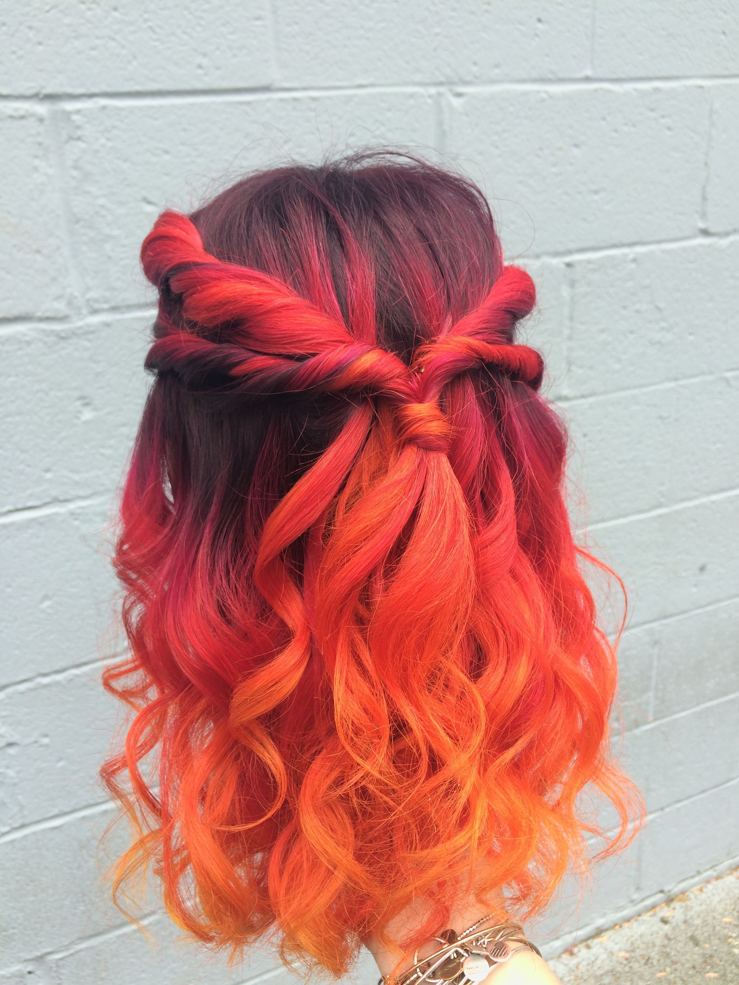 Most Up To Date Red, Orange And Yellow Half Updo Hairstyles For Sunset Color Melt. Fire Hair (View 10 of 20)
