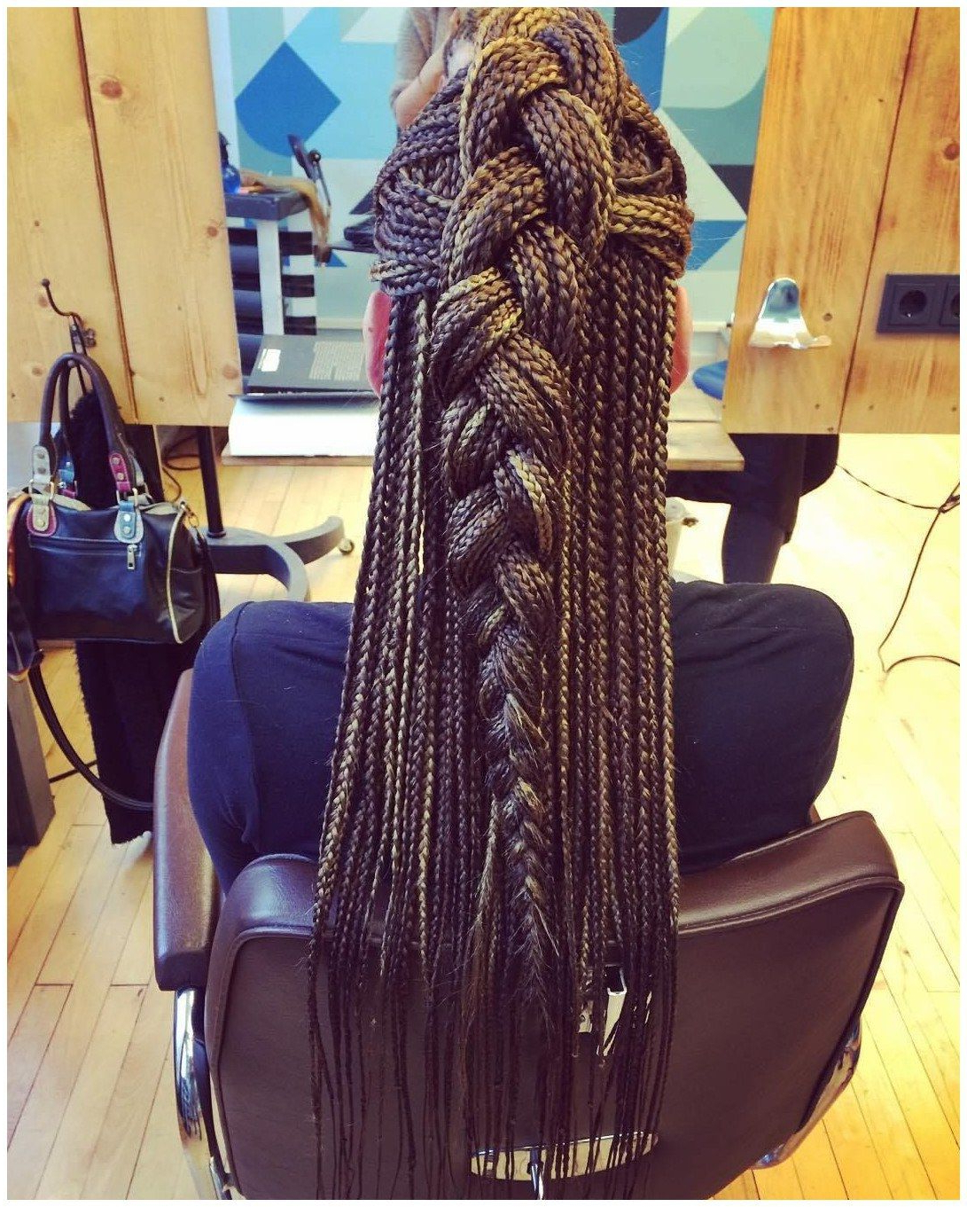 Most Up To Date Skinny Yarn Braid Hairstyles In A Half Updo In Half Updo For Long Box Braids #naturalhairprotectivebraids (View 6 of 20)