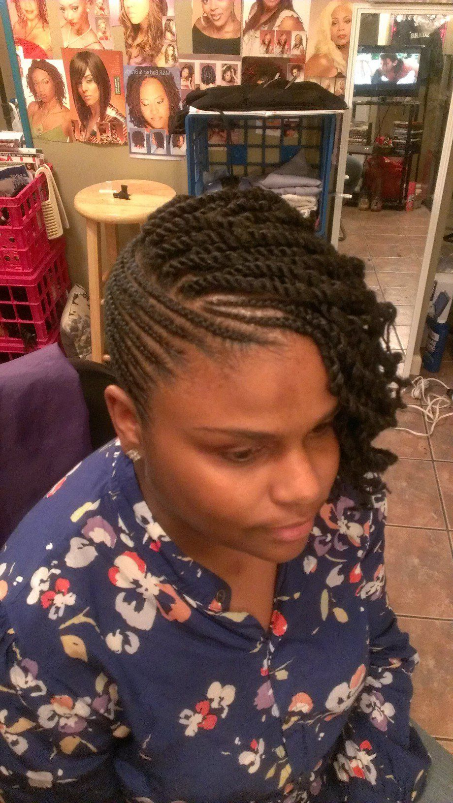 Most Up To Date Updo Hairstyles With 2 Strand Braid And Curls Regarding Natural Twist Updo With Side Bang And Curl (View 12 of 20)
