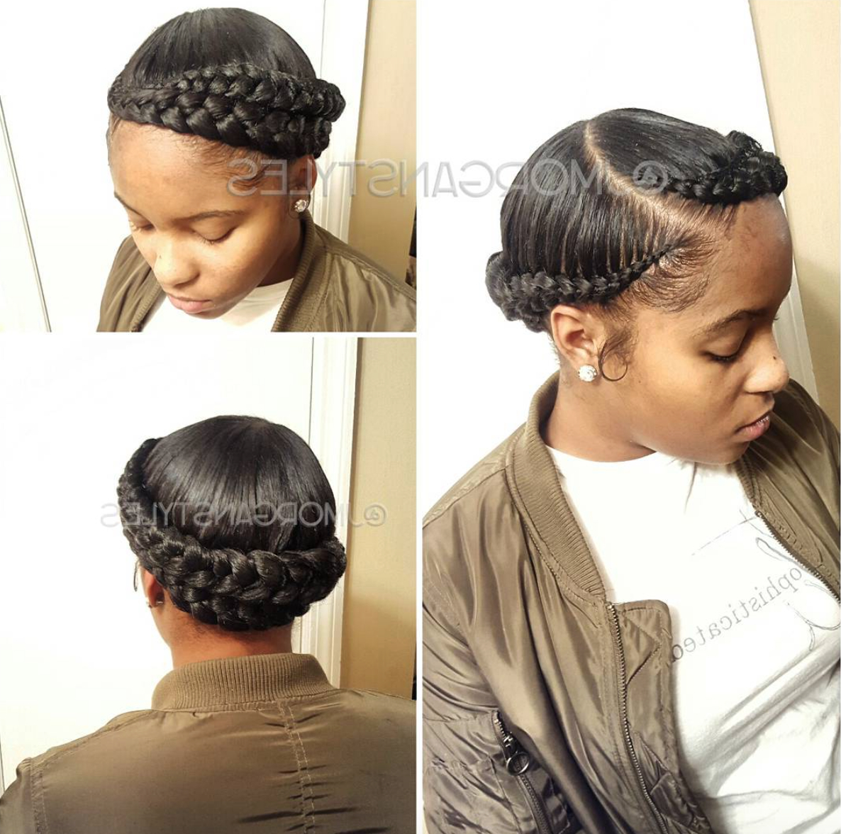 Natural Hair Styles With Most Recent Halo Braided Hairstyles With Bangs (View 17 of 20)