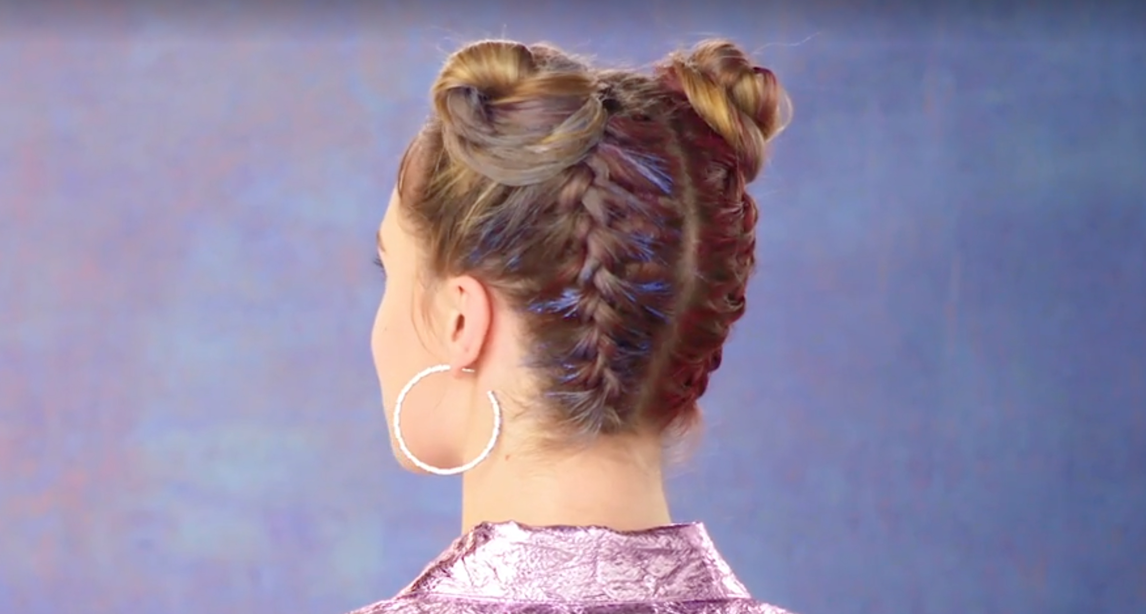 Newest Braided Space Buns Updo Hairstyles Pertaining To How To Create Rainbow Space Buns (View 10 of 20)