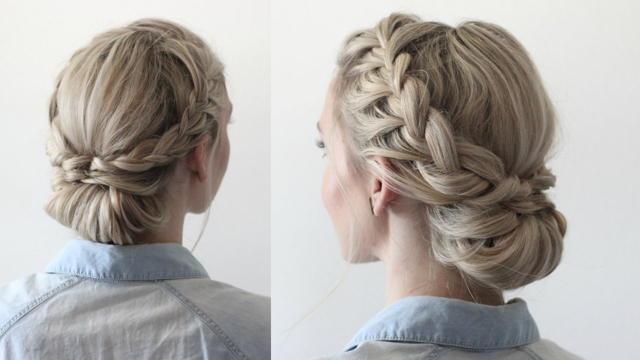 Newest Chunky French Braid Chignon Hairstyles Within Double Braided Updo (View 17 of 20)
