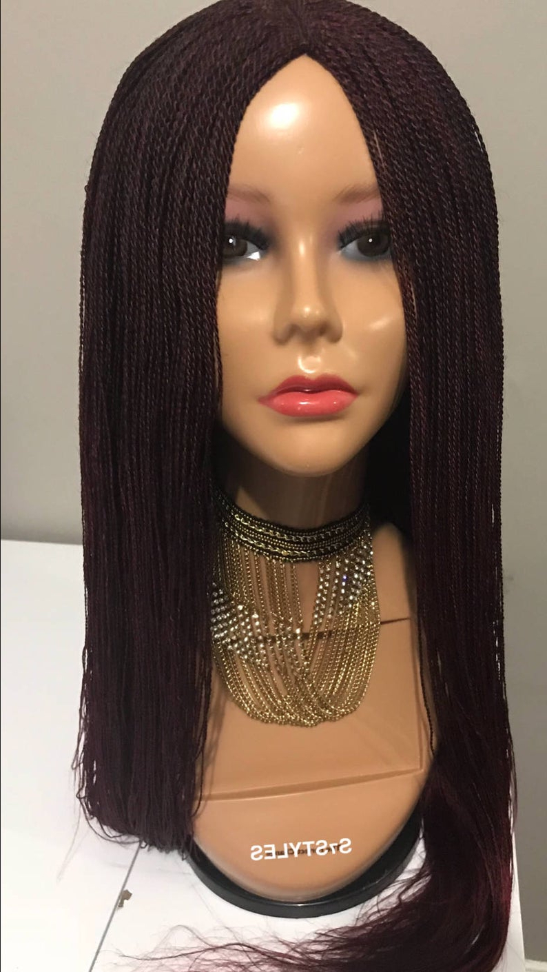 Newest Cleopatra Micro Braids Regarding Queen Of Sheba Middle/side Part Micro Million Senegalese Twist Braid Wig – Lace Front Wig – Dark Red Wig – Synthetic Wig – High Quality Wig (View 13 of 20)