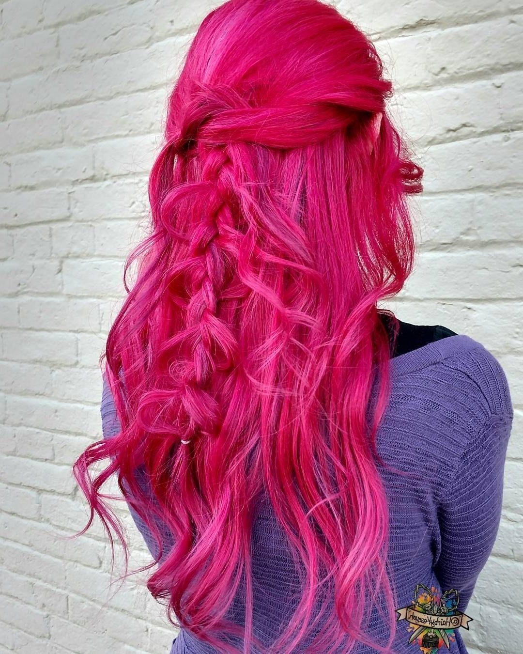 Newest Cotton Candy Colors Blend Mermaid Braid Hairstyles In Manic Panic Hot Hot Pink #pinkaesthetic #hair Mermaid Colour (View 12 of 20)