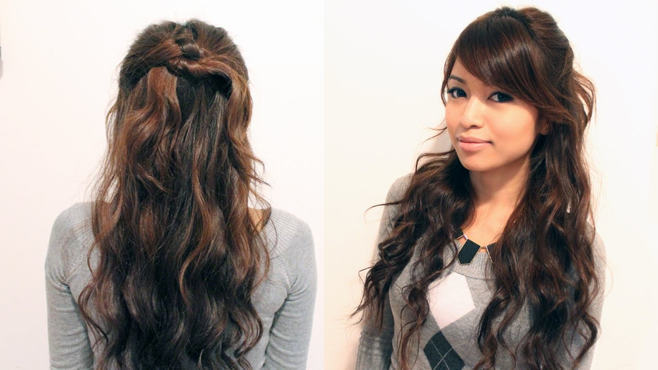 Newest Curled Half Up Hairstyles Intended For Holiday Half Up Half Down Knotted Hairstyle · Bebexo (View 15 of 20)