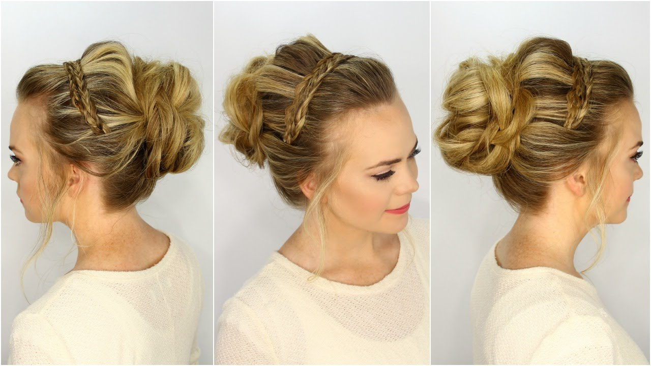Newest Double Headband Braided Hairstyles With Flowers In Braided Headband Updo (View 14 of 20)