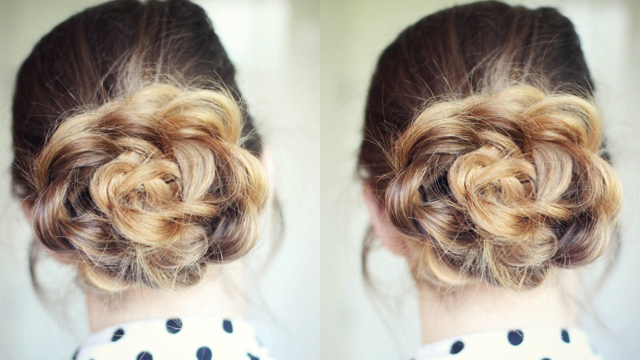 Newest Floral Bun Updo Hairstyles With Regard To Quick And Easy Flower Bun Hairstyle (View 5 of 20)