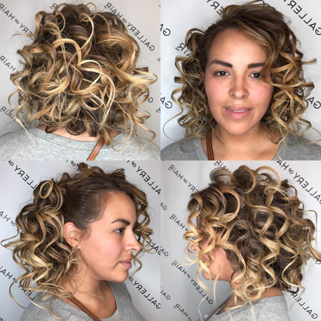 Newest Pinned Curls Hairstyles With Women's Blonde Back Pinned Curly Bob With Highlights Medium (View 11 of 20)