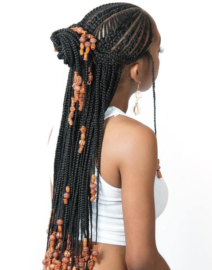 Newest Skinny Yarn Braid Hairstyles In A Half Updo Pertaining To 20 Trendiest Fulani Braids For  (View 13 of 20)